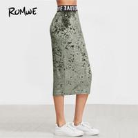 Wholesale Lady S Bottom Skirt - ROMWE Logo Waist Crushed Velvet Skirt Women Letters Print Fashion Bottom 2017 Ladies Autumn Green Pencil Skirt