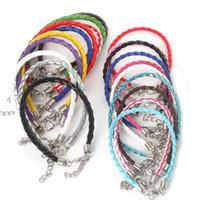 pulseira opala 14k venda por atacado-Corda de couro tecida cor PU de couro de fivela de lagosta colar cordão pingente de PVC com corda de borracha corda pulseira de moda criativa simples