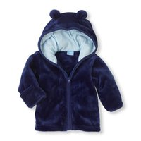 Wholesale boys outerwear coat for sale - Baby Boys Girls Clothes New Winter Color Cute Ear Outerwear Coat Plush Kids Clothes Children Clothing With Hooded Retail Hot