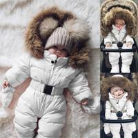 kışlık ceketler unisex parkas toptan satış-Bebek Aşağı Parkas Kapşonlu Romper Ceket Tulum Sıcak Kalın Coat Kız Bebek Boys Giyim Yeni Kış OUTWEAR Tops