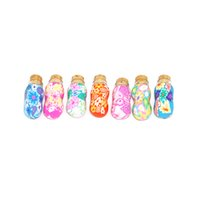 Wholesale Fimo Christmas - 1ml handmade clay fimo jewelry bottle MINI Colorful Glass Essential Oil Bottle Pendant Fimo Clay Perfume Vials Wedding Gift