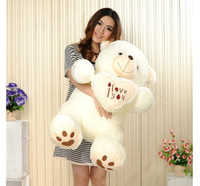 Wholesale cheap giant toy online - Cheap CM CM CM Teddy Bear Bears Embrace Giant Big Toys Doll Stuffed Plush Animals I love You Doll Valentine Gift for girl