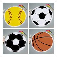 Wholesale beach volleyball ball - DHL SPORT blanket round Beach Towel for baseball basketball volleyball soccer ball softball Bath Towels Yoga Mat Table Cloth
