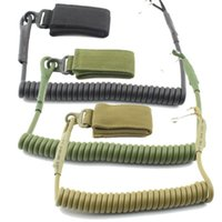 Wholesale tactical pistol sling - Adjustable Combat Sling Telescopic Tactical Pistol Hand Gun Secure Lanyard Spring Sling with magic tape Belt, hanging buckle