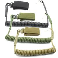 Wholesale tactical lanyards - Adjustable Combat Sling Telescopic Tactical Pistol Hand Gun Secure Lanyard Spring Sling with magic tape Belt, hanging buckle