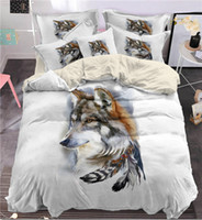 Wholesale wolf duvet covers resale online - d Indian feather wolf Bedding Set King size Bohemia wolf Print Duvet Cover set with pillowcase Bedbedline