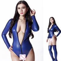 Wholesale Dance Body Wear - Sexy 200D Latex Sexy Bodysuit Catsuit Thong Body Suits For Women Long Sleeve Club Wear Bodies High Cut Night Dance Wear