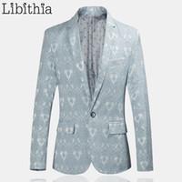 ingrosso abito nero khaki per gli uomini-Uomo Casual modello Blazer Slim Fit One Button Suit Giacche Partito Menswear Blaser Masculino Blu Nero Khaki Abbigliamento Maschio F034