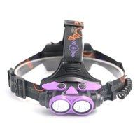 Wholesale New USB charging double head L2 glare headlights high power head mounted miner s lamp for outdoor hunting Night riding search purple
