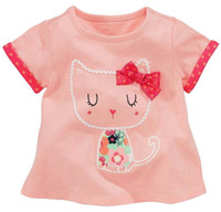 Wholesale dress cat for girls - Cute Cat mix size t shirt dress baby t shirts for girls t-shirt kids classic 100% cotton animal solid 18 months 2 3 4 5 6 years wholesale