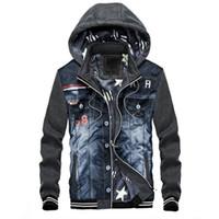 Wholesale Gray Denim Jacket Men - Men Hoodies Warm Fleece Fashion Denim Patchwork Outwear Hip Hop Hooded Sweatshirts Jacket Youth Hoody Streetwear