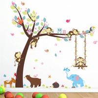 décalcomanies d'arbres pour pépinière achat en gros de-Animaux de bande dessinée Arbre Stickers muraux pour enfants Décor de chambre Pépinière Singe Elephant Owlets Safari Mural Art Diy Enfants Décalcomanies