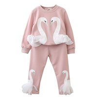 Wholesale New Design Girl Pants - Girls Clothing Sets 2018 New Autunm Sets Children Clothing Lovely Swan Lace Design Sweatshirts+Pants Suit For 3-7Y