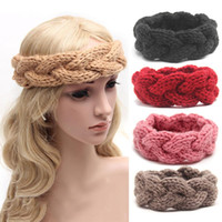 ingrosso pesce artigianale a crochet-Donne Inverno Solid Big Bow Fish Knit Fascia di lana Moda ragazza Warm Woolen Crochet Turban Handmade Bow Knot Wide Head Wrap