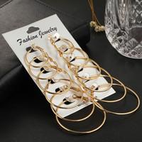 Wholesale rock alloy earring for sale - Group buy Gold Earrings Hoop Pairs Set Round Rock Punk Stud Earrings Set For Woman Party Ladies Ear Jewelry K Rose Gold Mens Big Hoop Earrings