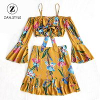 колокольчики оптовых-ZAN.STYLE Women Two Pieces Sets Floral Bell Sleeve Spaghei Straps Tied Bowknot Top Ruffle Zipper Mini Skirt Sets Spring Set