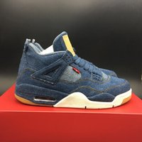 Wholesale Boys Denim Shoes - High Quality Athletic Retro 4 Blue Denim Basketball Shoes