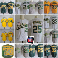 Wholesale Henderson Baseball - Mens #24 RICKEY HENDERSON 1989 WS Jersey Stitched 25 Mark Mcgwire 33 Jose Canseco 50th Anniversary Patch throwback baseball Jerseys S-3XL