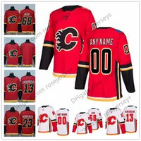 Wholesale Flame Numbers - NEW Brand Custom Calgary Flames Hockey Jerseys Stitched Any Number Name Customized 2018 Red Home White Gaudreau Brodie Giordano Iginla S-60