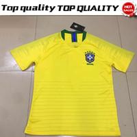 Wholesale Brazil Football Soccer - 2018 world cup Brazil home Soccer Jersey Brasil#10 NEYMAR JR soccer shirt #11 COUTINHO #9 G.JESUS Brazil home yellow Football uniforms sales