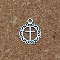 Wholesale circles earrings diy for sale - Group buy Open flower circle cross Charm Pendants x19 mm Antique Silver Jewelry DIY Fit Bracelets Necklace Earrings