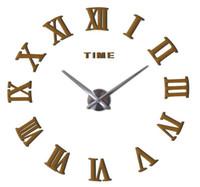 relógio de parede relógio de parede venda por atacado-Hot 50 pcs Moda relógio de quartzo home decor limitada venda 3d grande espelho diy real relógio de parede design moderno quarto presente