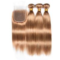 ingrosso tessuto a base di capelli biondo miele-Bionda # 27 bundle peruviano capelli lisci con chiusura colore biondo miele tessuto capelli umani 3 pacchi con chiusura in pizzo 4X4