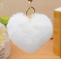 Wholesale keychains for lovers for sale - Group buy 12cm Rabbit Fur Ball Keychain fluffy keychain fur pom pom llaveros portachiavi porte clef Key Ring Key Chain For Bag accessories MOQ