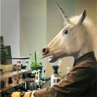 máscara de cabeça de cavalo unicórnio venda por atacado-Máscara de Látex Cabeça de Cavalo Masquerade Unicórnio Engraçado Rosto Cheio Máscaras Prank Prop Partido Do Dia Das Bruxas Suprimentos Branco 21sr KK