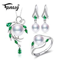 smaragd halskette ohrringe großhandel-FENASY 925 Sterling Silber Schmuck-Sets für Frauen, Smaragd Tropfen Ohrringe, natürliche Perle Anhänger Halsketten Verlobungsring Set