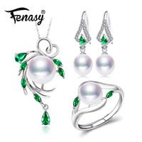 boucles d'oreilles collier émeraude achat en gros de-FENASY ensembles de bijoux en argent sterling 925 pour femmes, boucles d'oreilles pendantes émeraude, ensemble de bagues de fiançailles en perles naturelles