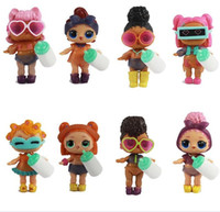Wholesale toys for china - Cartoon 7-9cm LOL Unpacking Dolls Baby Glitter Dolls Figures Action Toys Anime For Kid's Birthday Party Gift 6pcs