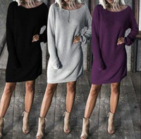 Wholesale knitting round dresses online - Women Long Batwing Sleeve Round Neck Solid Loose Sweater Dress Pullover Tops Loose Knitted Dress OOA4501