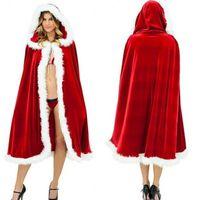 traje de cosplay vermelho venda por atacado-Trajes de Halloween das Crianças das crianças do Cabo de Roupas de Natal Vermelho Sexy Manto Com Capuz Capa Robe Traje Acessórios Cosplay