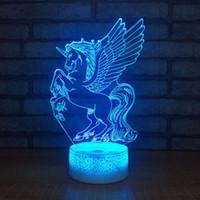acryl führte nachtlichter großhandel-Acryl 7 Farbe Meditation 3D LED Nachtlicht Schlafzimmer Lampe Wohnzimmer Lichter Schreibtisch Tischdekoration Nachtlicht