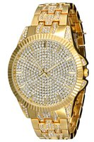 Wholesale Like Watches - Men Gold Plated Crystal Watches for Men Like Diamond Quartz Watch Luxury Wristwatch Big Dial Round Watch