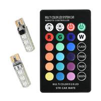 ingrosso 12v 194 ha condotto la lampadina-T10 W5W Led colorato luci di ingombro per auto 5050 6 SMD RGB 194 168 Lampadina Telecomando interno Sorgente di illuminazione Car Styling 12V