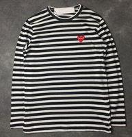 männer hoodie fleece großhandel-Männer Frauen schwarz rotes Herz DES spielen GARCONS CDG Stickerei Herz Langarm Streifen Hoodies T-Shirts Stickerei rotes Herz T Outdoorjacken