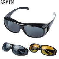 óculos amarelos venda por atacado-Alta Qualidade de Condução HD Óculos de Visão Noturna Lente Amarela Óculos De Sol Do Motorista de Segurança óculos de Sol tipo de vidro Marca Nova