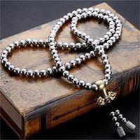 buddha handhalskette großhandel-108 Buddha Perlen Halskette Kette Outdoor Vollstahl Hand Armband Kette Personenschutz Multi Tools Titan Stahl 55jg dd