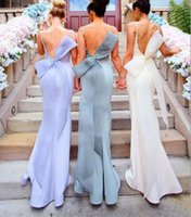 Wholesale big off white wedding dress lace for sale - Group buy 2018 New Mermaid Bridesmaid Dresses Spaghetti Appliques Big Bow Open Back long Maid Of Honor Dress Wedding Guest Party Gowns Cheap Custom