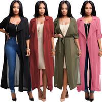 Wholesale long sleeve chiffon cardigan online - Women Chiffon Long Sleeve Cardigan Jacket Coat Blouse Tops Casual Coat Loose Tops Chiffon Jacket LJJK863
