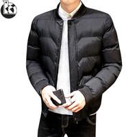 yeni moda korean kış mens toptan satış-Moda Yeni Standı Yaka Büyük Boy Kore Versiyonu Eğilim Kış Ceket Erkekler Rahat Gevşek Düz Renk Kış Ceketler Mens