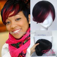 medias pelucas brasileñas al por mayor-Newstyle Mix Rojo Negro Mitad de precio Corte corto Pixie Pelucas de cabello humano con flequillo Pelucas brasileñas de 8 pulgadas para mujeres negras