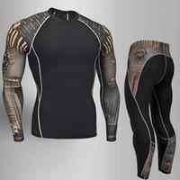 erkekler giyim xxl toptan satış-Adam sıkıştırma tayt Tayt erkek spor takım elbise koşu takımları Gym Eğitim Tişört döküntü guard erkek sıkıştırma giyim