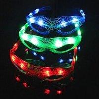 noel ışıkları gözlükleri toptan satış-Örümcek Adam Güneş Gözlüğü Çocuklar Yılbaşı Hediyeleri Aydınlık Gözlük 9 LED Işıltılı Serin Yanıp Sönen Light Up Oyuncak Gözlük Parti Favor CCA10591 300 adet