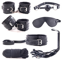 Wholesale Leather Sex Gags - 7pcs set Restraint Cabala Leather Sex Games BDSM Sex Toys Slave game Sexy Womenizer Erotic Toys Handcuffs Gag Sex Toys for couple 1 set