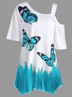 mariposa de las mujeres tshirt al por mayor-Camiseta de la túnica de la impresión de la mariposa de la manera de las mujeres Camiseta de algodón del verano Mujeres Top corto de la camiseta de las mangas más el tamaño S-5XL