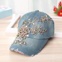 994007e5494 Summer Baseball Cap With Flower Denim Canvas Snapback Caps For Women High  Quality Rhinestone Fashion Hat 13 5sm aa