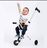 scooters de pie al por mayor-LK710 Tres ruedas de PU Niños Kick Scooter Scooter de pie de acero plegable Scooter de bebé blanco para 0-3 años Rodamiento